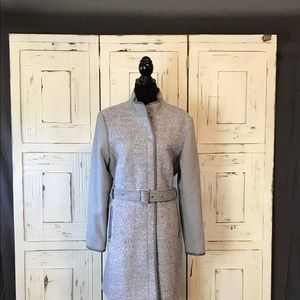 Vince Camuto Twill Wool Faux-Leather Trim Coat NWT
